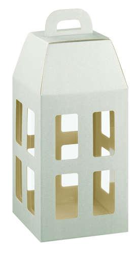 Image du produit Lanterne New York carton aspect ligne gris taupe 4 bouteilles
