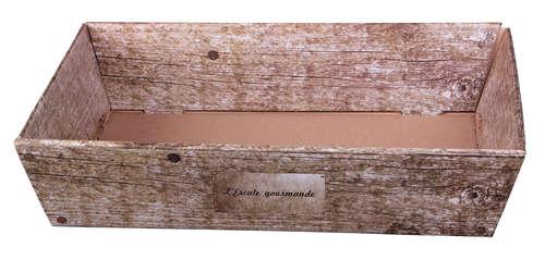 Image du produit Corbeille Lorriane carton imitation bois grisé rectangle 37x28x8cm