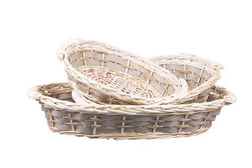 Image du produit Corbeille Amandine osier/bois déroulé/jonc de mer ovale 45x35x12cm