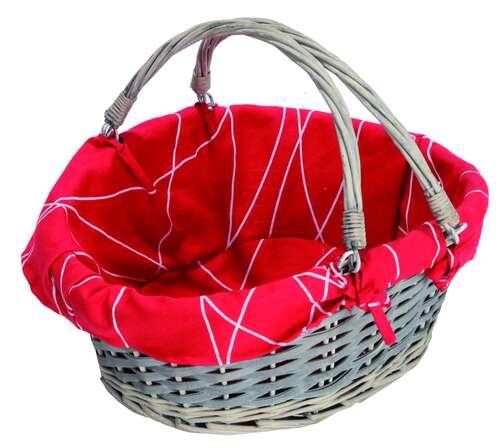 Image du produit Panier Rio osier/bois déroulé cérusé gris tissu rouge ovale 33x26x10/13cm