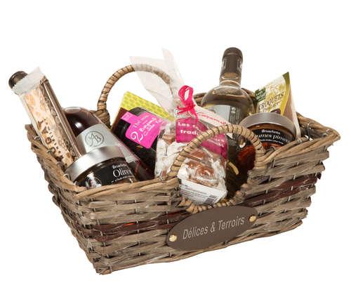 Image du produit Corbeille Rosanne osier/bois déroulé cérusé gris/chocolat rectangle 28x20x9cm