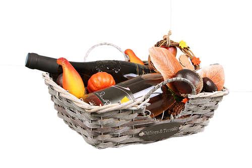 Image du produit Corbeille Rosanne osier/bois déroulé cérusé gris/chocolat carrée 31x31x10cm