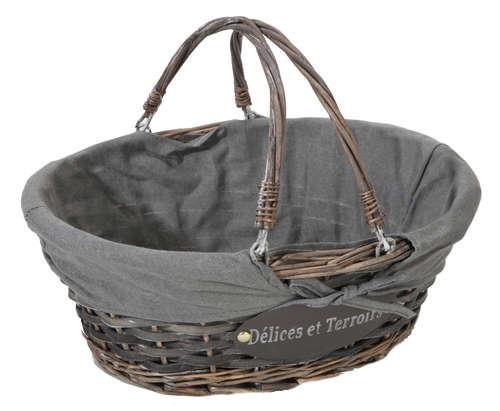 Image du produit Panier Maria osier/bois déroulé cérusé gris tissu gris ovale 36x30x14cm