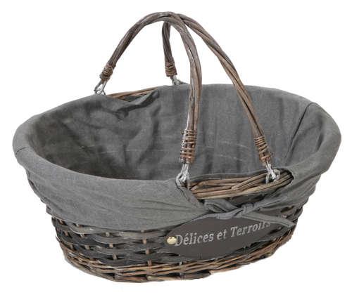 Image du produit Panier Maria osier/bois déroulé cérusé gris tissu gris ovale 43x34x16cm