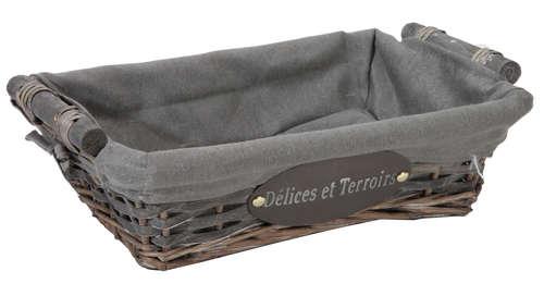Image du produit Corbeille Maria osier/bois déroulé cérusé gris tissu gris rectangle 33x23x9cm
