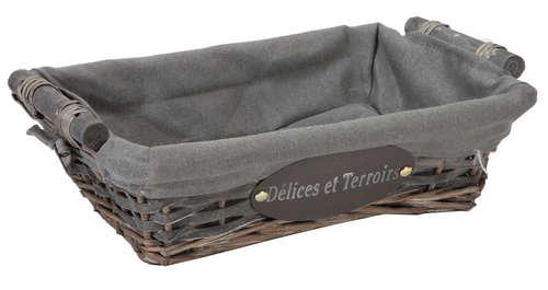 Image du produit Corbeille Maria osier/bois déroulé cérusé gris tissu gris rectangle 38x28x10cm