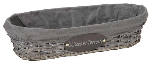 Image du produit Banneton Maria osier/bois déroulé cérusé gris tissu gris ovale 44x14x10cm