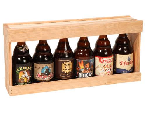 Image du produit Demi-mètre Mattéo bois de pin naturel 6 bières 33cl (type Steinie)