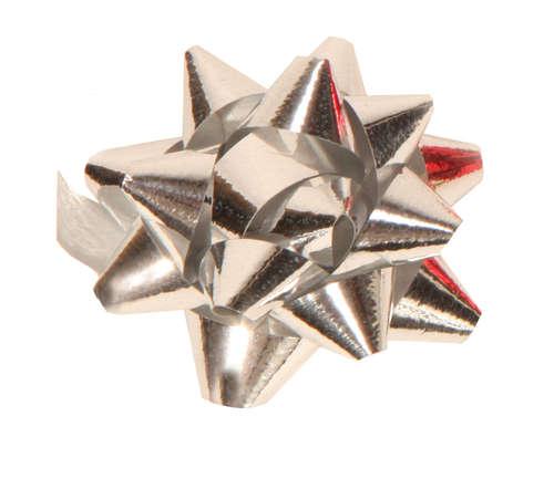 Image du produit Noeud adhésif brillant argent forme étoile (diamètre 50mm)