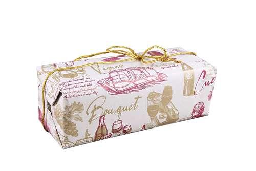 Image du produit Papier cadeau Cépage kraft couché bordeaux/or 73gr 0.50x200m