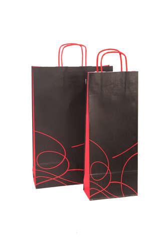 Image du produit Sac Nuance kraft noir et rouge 3 bouteilles