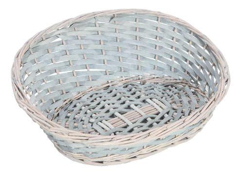 Image du produit Corbeille Amélie osier/bois déroulé cérusé gris asymétrique ovale 43x35x6/18cm