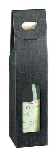 Image du produit Valisette Milan carton aspect tissu noir 1 bouteille