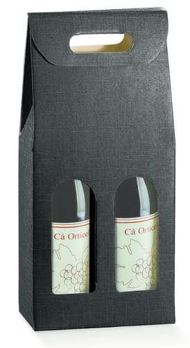 Image du produit Valisette Milan carton aspect tissu noir 2 bouteilles