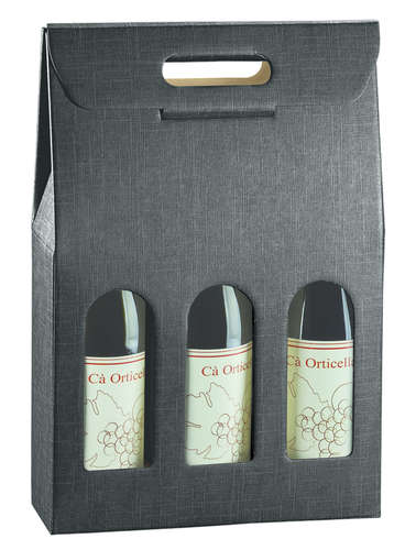 Image du produit Valisette Milan carton aspect tissu noir 3 bouteilles