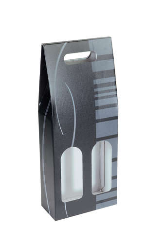 Image du produit Valisette Dallas carton noir/gris 2 bouteilles