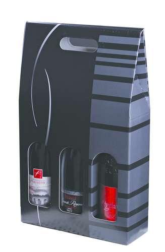 Image du produit Valisette Dallas carton noir/gris 3 bouteilles