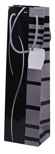 Image du produit Sac Dallas papier pelliculé brillant noir/gris 1 bouteille -  FSC7