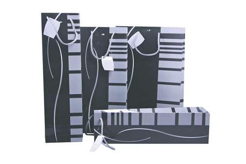 Image du produit Sac Dallas papier pelliculé brillant noir/gris 2 bouteilles - FSC7