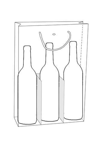 Image du produit Sac Dallas papier pelliculé brillant noir/gris 3 bouteilles - FSC7