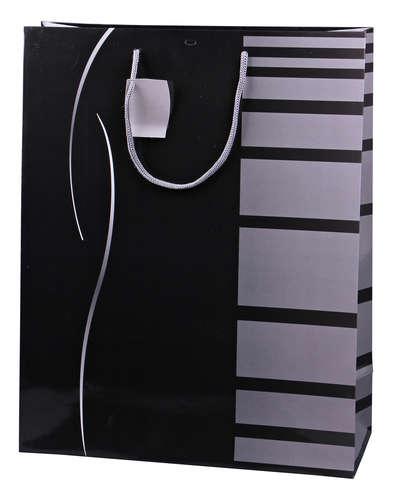 Image du produit Sac Dallas papier pelliculé brillant noir/gris cabas 35x14x44cm - FSC7