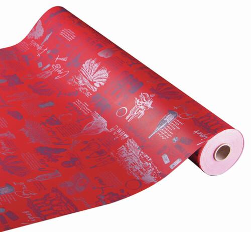 Image du produit Papier cadeau Cépage kraft couché rouge/argent 73gr 0.70x100m