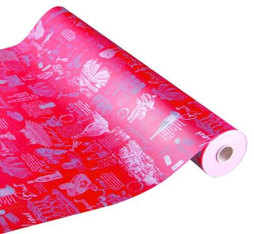 Image du produit Papier cadeau Cépage kraft couché rouge/argent 73gr 0.50x200m