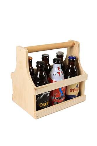 Image du produit Panier Pascal bois de pin naturel 6 bières 33cl (type Steinie)