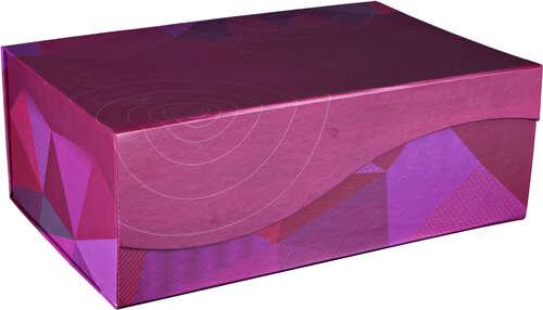 Image du produit Coffre Mexico en carton rigide décor Poly cassis 34x22x12cm (livré à plat)