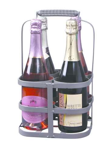 Image du produit Panier José métal gris antique 4 bouteilles