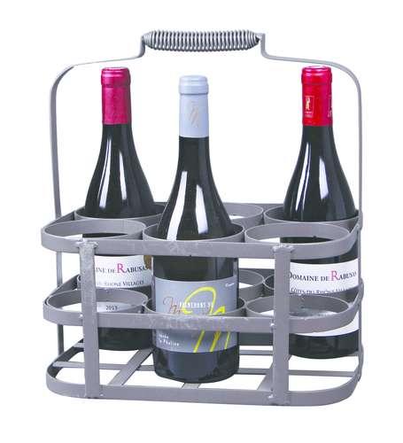 Image du produit Panier José métal gris antique 6 bouteilles