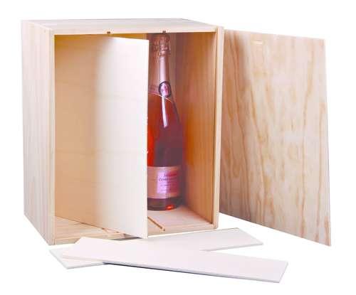 Image du produit Caisse Tradition bois de pin naturel 6 bouteilles (2x3)