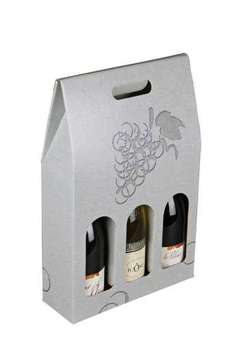Image du produit Valisette Berlin carton gris/effet béton 3 bouteilles