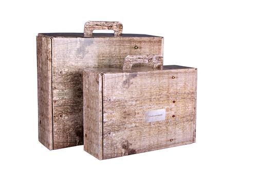 Image du produit Valisette gourmande Lorriane carton imitation bois grisé 34.5x25.5x11.5cm