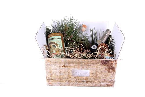 Image du produit Caisse gourmande Lorriane carton imitation bois grisé 33x22x15cm