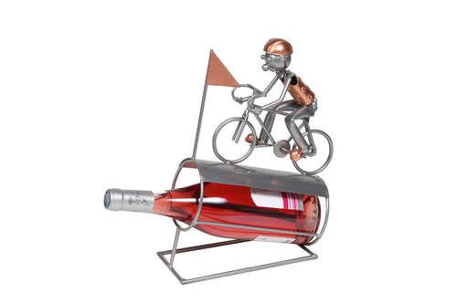 Image du produit Support bouteille Félix métal gris/cuivre - Cycliste sur bouteille