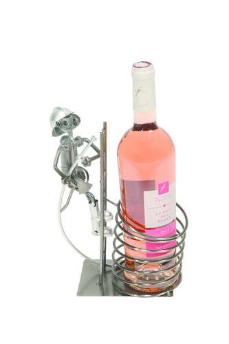 Image du produit Support bouteille Félix métal gris/cuivre - Pompier sur échelle