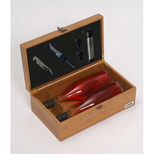 Image du produit Coffret sommelier Bamboo 2 bouteilles bambou 5 pièces