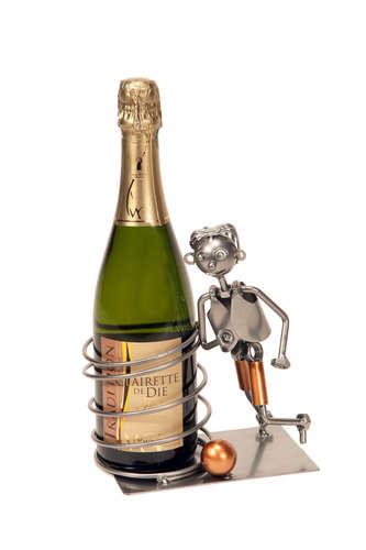 Image du produit Support bouteille Félix métal gris/cuivre - Footballeur