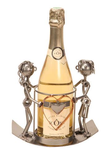 Image du produit Support bouteille Félix métal gris/cuivre - Love