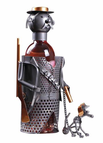 Image du produit Support bouteille Félix métal gris/cuivre - Chasseur et son chien