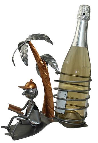 Image du produit Support bouteille Félix métal gris/cuivre - Vacancier