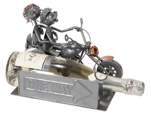 Image du produit Support bouteille Félix métal gris/cuivre - Biker Couple