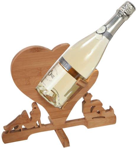 Image du produit Support bouteille Zen bambou naturel Coeur