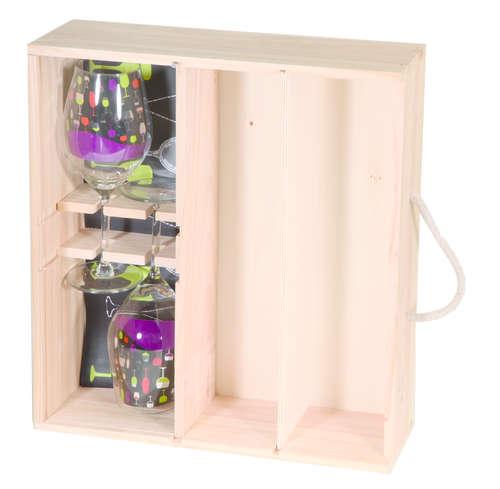 Image du produit Coffret dégustation Casimir bois de pin naturel 2 bouteilles + 2 verres