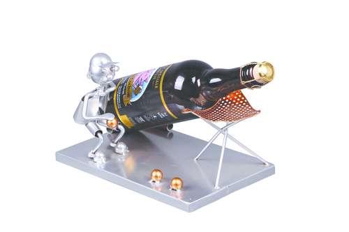 Image du produit Support bouteille Félix métal gris/cuivre - Bouliste