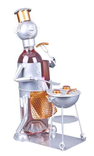 Image du produit Support bouteille Félix métal gris/cuivre - BBQ
