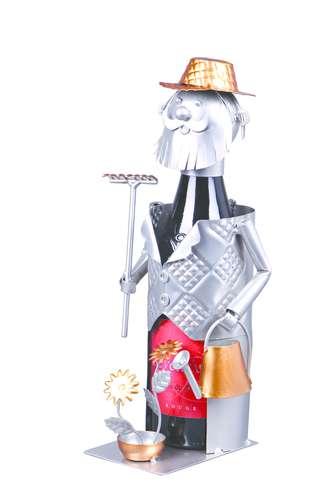 Image du produit Support bouteille Félix métal gris/cuivre - Jardinier