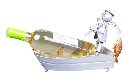 Image du produit Support bouteille Félix métal gris/cuivre - Pêcheur en barque