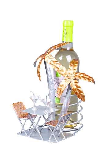 Image du produit Support bouteille Félix métal gris/cuivre - Cocktail en terrasse